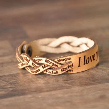 braided leather bracelet with a custom laser engraved