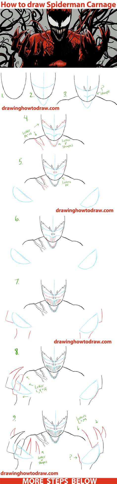 learn to draw marvel s spider learn to draw your favorite spider characters including spider the green goblin the vulture and more licensed learn to draw books how to draw carnage from marvel comics step by
