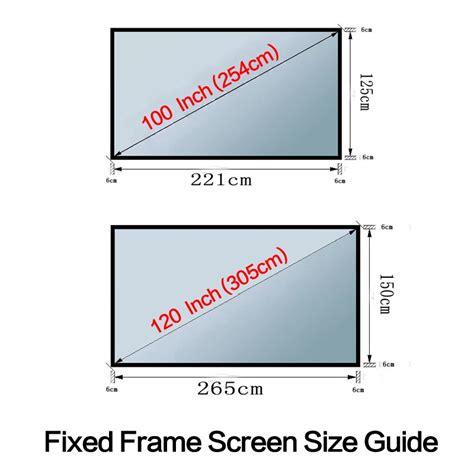 80 Inch Tv Dimension by 120 Quot Tv Cinema Hd Projector Screen Flat Fixed Frame 16 9