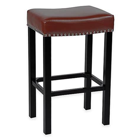 leather nailhead bar stools amy bonded leather bar stool with chrome nailhead trim