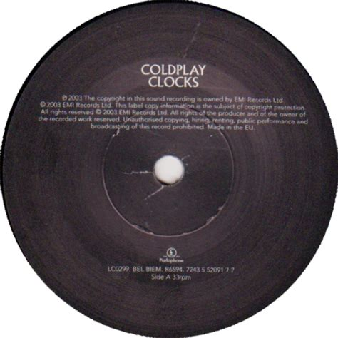 coldplay record label 45cat coldplay clocks crests of waves parlophone