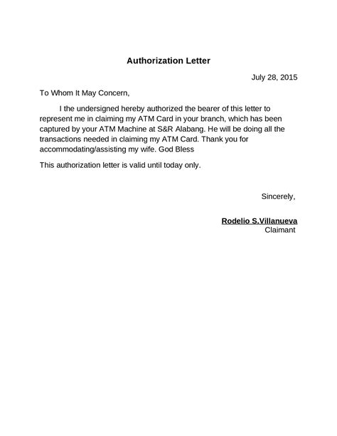 authorization letter format for atm card authorization letter documents tips
