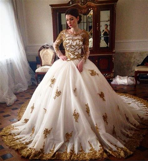 Luxury Wedding Dresses by Luxury Wedding Dress 2018 Scoop Sleeve Gold Lace