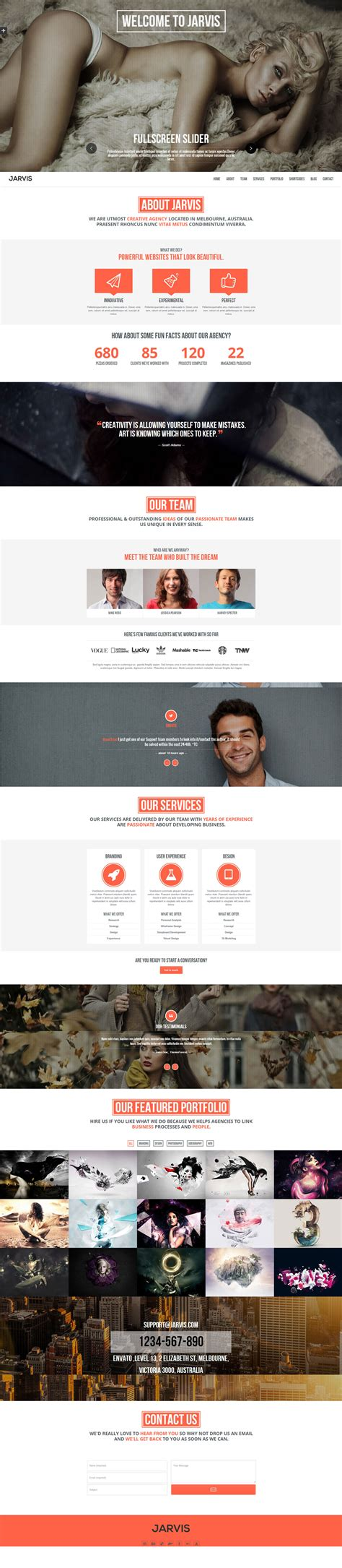 themeforest jarvis jarvis onepage parallax wordpress theme by