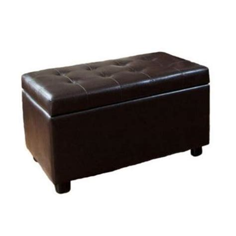 brown faux leather storage ottoman cosmopolitan dark brown rectangular faux leather storage