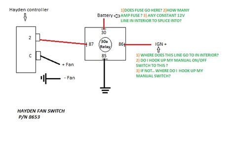 wiring electric fan  hayden sensor  generation