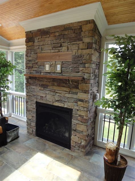 raleigh nc 3 season room with outdoor fireplace
