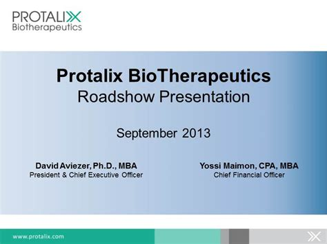 Cpa Mba Salary Philippines by Protalix Biotherapeutics Roadshow Presentation September