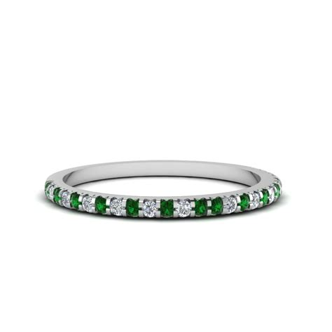 Wedding Bands Emerald by Thin Band With Emerald In 14k White Gold