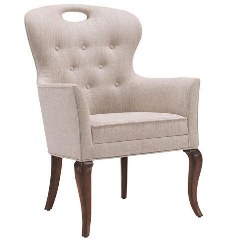 Linen Tufted Dining Chairs Anais Regency Button Tufted Linen Dining Arm Chair