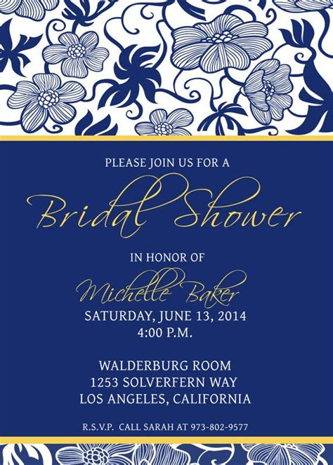 Printable Bridal Shower Invitation Template Photoshop Gimp Navy Blue Yellow Foliage Free Bridal Shower Invitation Templates Photoshop