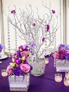 Wholesale Silver Vases Quinceanera Decorations Pink And Purple Floral