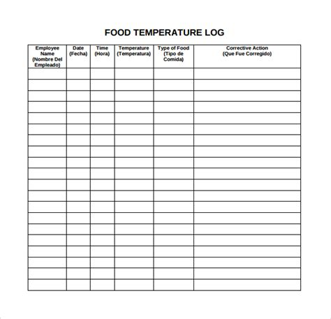 printable food temperature log daily temperature log template pictures to pin on