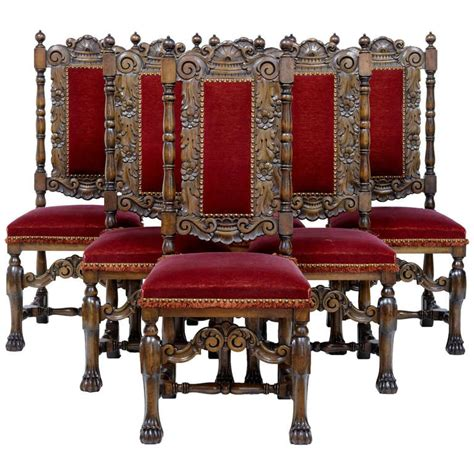 Baroque Dining Chairs Set Of Six 1920s Baroque Influenced High Back Dining Chairs At 1stdibs
