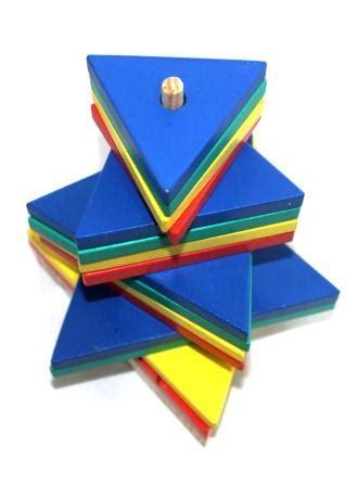 Domino Puzzle Kayu menara pelangi segitiga mainan kayu