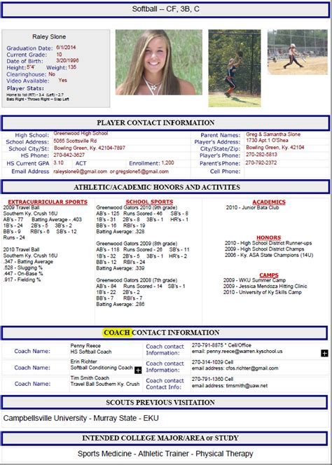 sports resume template athletic resume by guide to athletic scholarships guide