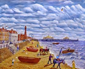 Seaside Shower Curtain - donkey rides on blackpool beach painting by ronald haber