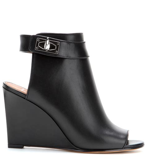 Leather Wedges givenchy leather wedge sandals in black lyst