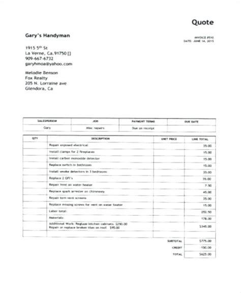 handyman invoice template handyman invoice template water damage invoice sle