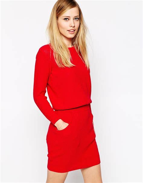 jumper dress asos jumper dress with elastic waistband in lyst