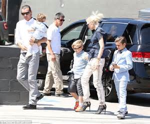 Light Grey Booties Gwen Stefani Wows Out With Gavin Rossdale And Their Sons