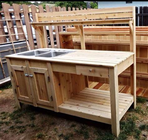 cedar potting bench with sink potting bench w sink raisedgarden raisedgardenbed