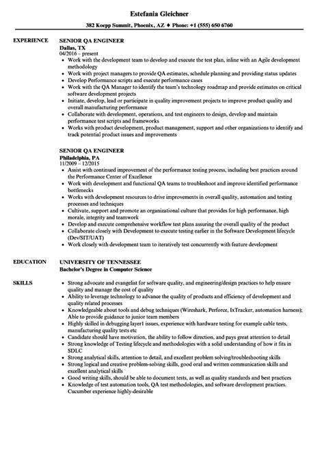 Qa Engineer Resume by Sle Qa Engineer Resume Talktomartyb
