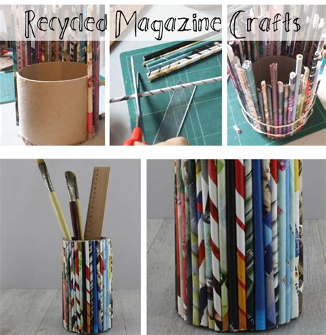 Recycled Magazine Paper Crafts - how to make a recycled magazine pencil holder