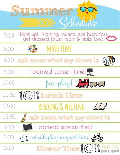 Summer Boredom Blaster Calendar Daily Schedule Printable Schedule Printable And Summer Free Summer C Schedule Template