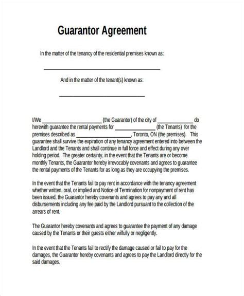 guaranty agreement template sle guarantor agreement forms 8 free documents in