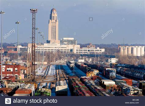 in lincoln nebraska the rail yard and nebraska state capitol building in