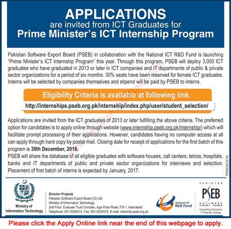 Mba Vs Ms In Computer Science Salary by Prime Minister S Ict Internship Program 2016 November