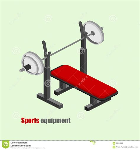 isometric bench press gym equipment isometric vector illustration cartoon vector