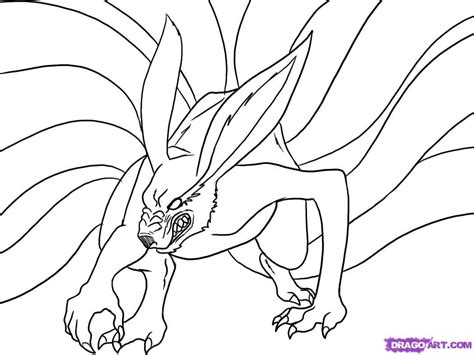 fox tail coloring page how to draw nine tailed fox step by step naruto