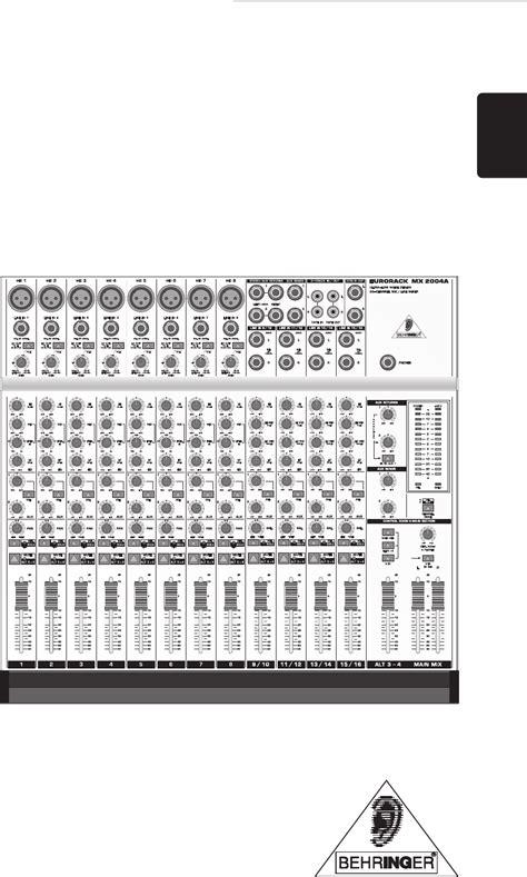 Behringer Musical Instrument Mx2004a User Guide