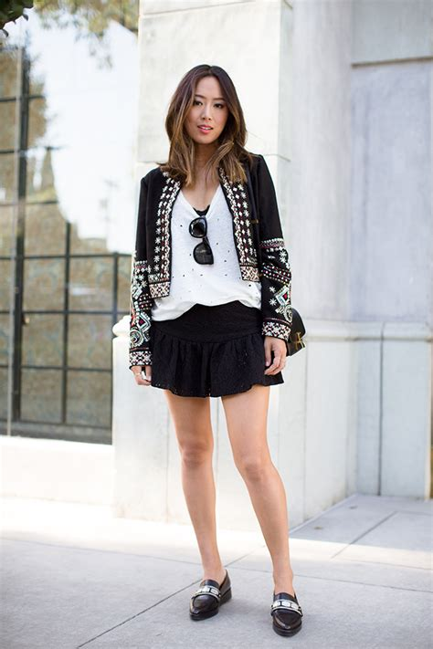 embellished jacket  lace skirt