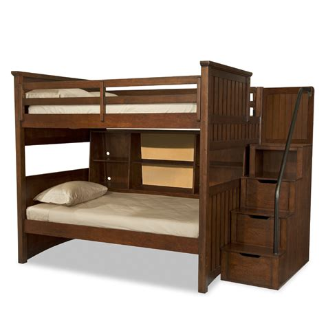 bunk bed storage mason full over twin bunk bed with bedside storage