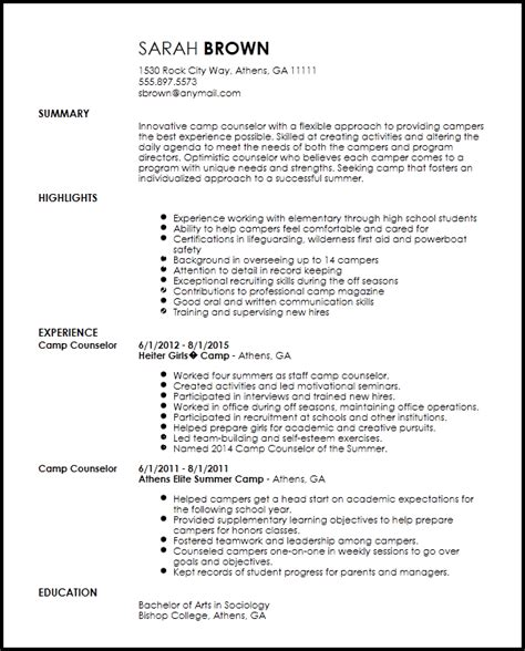 summer c counselor resume sles free creative c counselor resume template resumenow