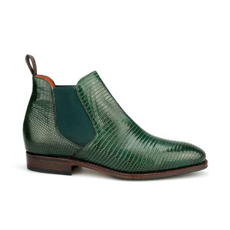 lizard boots chelsea ankle boot in green lizard