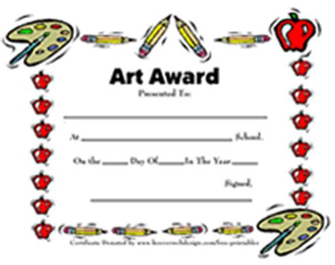 printable art award certificates