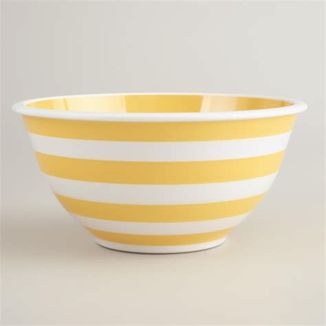 Latest Kitchen Gadgets Yellow And White Striped Mixing Bowl Transitional