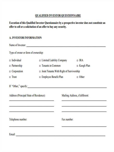 investor questionnaire template investor contract sle pdf official quotation format