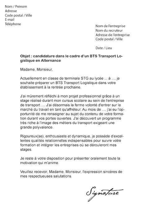 Exemple De Lettre De Motivation Logisticien Lettre De Motivation Bts Transport Logistique Alternance Mod 232 Le De Lettre