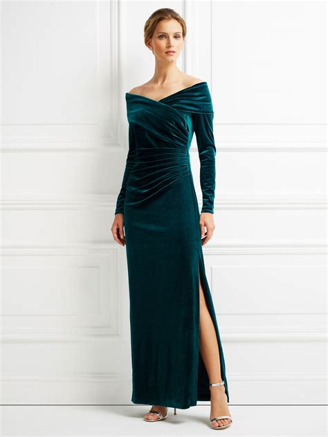 Longdress Velvet jacques vert velvet bardot dress green house of fraser