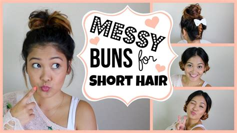 messy buns for short hair youtube