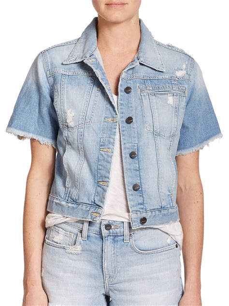 S Size Sleeved Denim Jacket Spell Leather Coll 1 jean sleeve jacket outdoor jacket