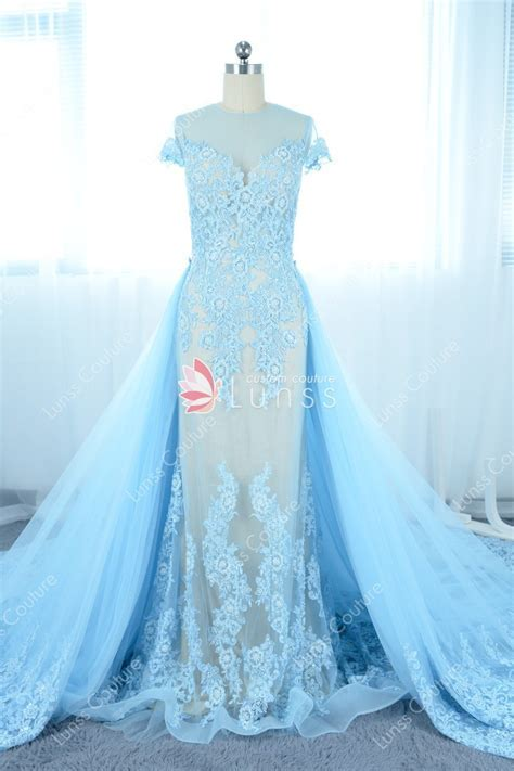 Romantic Sky Blue Pearls Lace Illusion Tulle Prom Dress