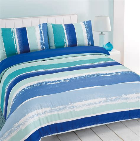 blue green bedding duvet cover with pillowcase portobello stripe blue green