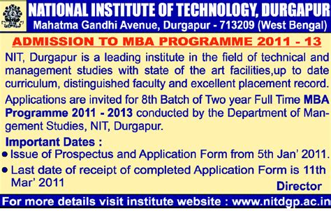 Nit Durgapur Mba by Admision Mantra February 2011