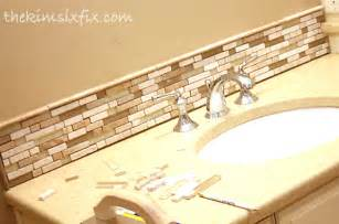How To Install Tile Backsplash In Kitchen by Updating A Vanity With A Custom Tile Backsplash The Kim